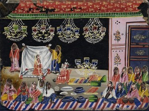 Wedding Procession- Bride Under a Canopy with Gifts. Circa 1800 India, West Bengal, Murshidabad, circa 1800 Drawings; watercolors Opaque watercolor on mica Gift of Miss Gertrude McCheyne (37.28.9) South and Southeast Asian Art